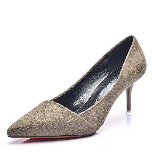 Damen Pumps Spitze Slip On Kurzschaft Stilettos Modische Sandale Khaki