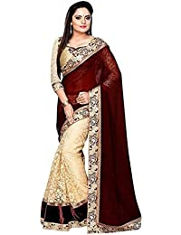 TexStile Womens Maroon Colour Georgette Womens Saree with Blouse Pieces(Maroon Georgette saree)