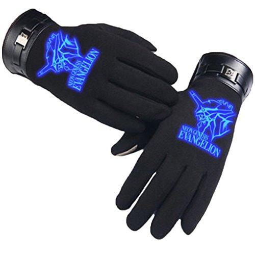 Bromeo EVA Neon Genesis Evangelion Anime Hiver Chaud Lumineux Écran Tactile Gants Gloves Mittens Noir 2