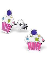 JAYARE® Boucles d'oreilles Enfants Cupcakes Muffins 9 x 8 mm Argent 925/1000 multicolore avec étui clou d'oreilles fille