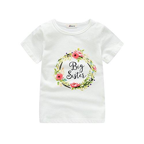 Shiningup Sommer Kinder Mädchen T-Shirt Kurzarm Little Sister Strampler Big Sister Printed Sweatshirt Outwear für 0-6 Jahre Alt - 0 Big
