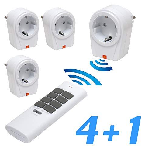 solidBASIC - Funk Schalter Steckdosen Set : 4 x Funksteckdosen + 1 x Fernbedienung   4-Kanal Plug & Play Funkschalt-Set - WEIß