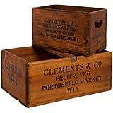 London W11 Antique Vintage Wooden Home Decoration Boxes Crates Toy Storage Set