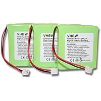 vhbw 3x NiMH Akku Set 600mAh (2.4V) für schnurlos Festnetz Telefon Medion Life S63006, S63008, S63022, Slim 500, X680 wie 5M702BMX, GP0827, GPHP70-R05