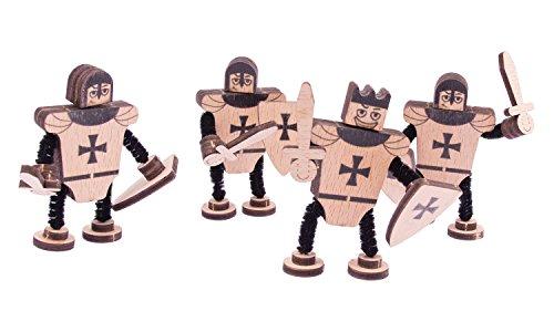 WoodWars - Ritter aus Holz, 3D-Puzzle Bausatz zum Basteln für 8cm große Ritterfiguren