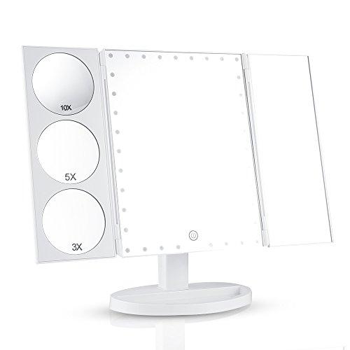 Easehold Espejo para Maquillaje Triple Plegable Grande Con 35 Bombillas LED Luz Amplificador 3X/5X/10X 360° Rotable con Organizador Cosmético, Regalos Originales para Mujer (Blanco)