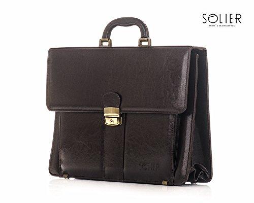 Solier pelle Organizzatore cartelle conferenza portafoglio valigetta ventiquattrore S22 Marrone