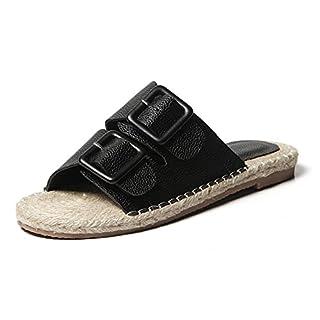 KUKI Atrio slippers female summer flat with students female sandals fashion non-slip one word drag the bottom of the cool slippers female, black, US7.5/EU38/UK5.5/CN38
