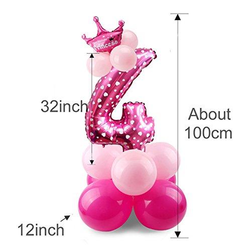 Yalulu 1 Satz Junge Mädchen Aufblasbar Ballons Folie Ballons Geburtstag für Baby Kinder 0-9 Jahre Alt Geburtstag Party Dekoration (Rosa 4)