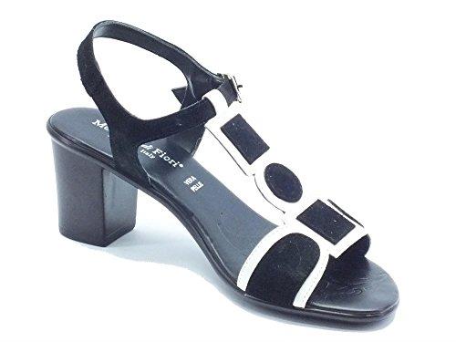 Mercante di Fiori  SMH45556 Vernice Camoscio Bianco Nero, Damen Sandalen Schwarz Nero Bianco Nero