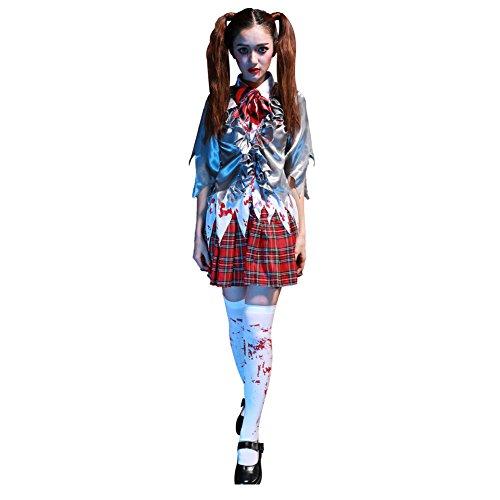 stüm Zombiekostüm Schulmädchen Kinderkostüm Zombie Horrorkostüm für Halloween (Zombie Schulmädchen Halloween-kostüm)