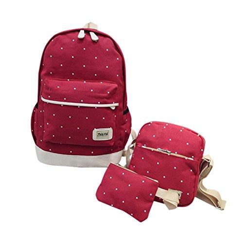 Remeehi moda DOT modello ragazzine canvas zaino scuola borsa zaino per portatile 37,1cm + messenger bag + Purse, black (Grigio) - JXQ0691-7 Red