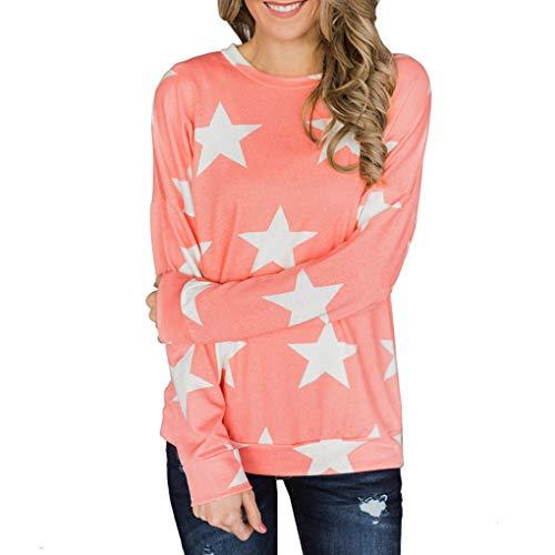 Kakiyi Frauen Scoop Neck Elastic Stern gedruckt Hemd Mädchen Long Sleeve Top-verursachende T - Elastic Neck Top