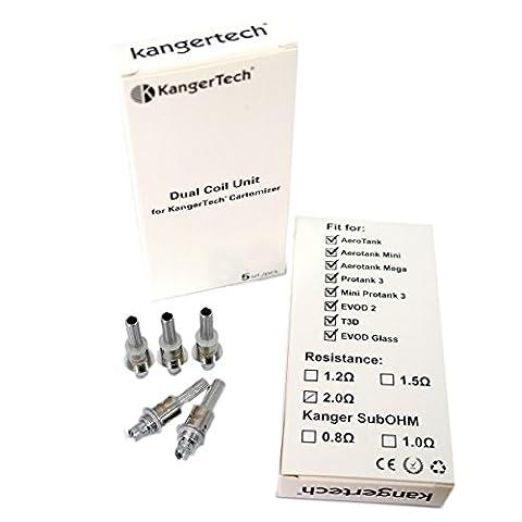 5-Pack améliorer Responsables d'évaporateur double bobine V2 par Kanger, cigarette électronique