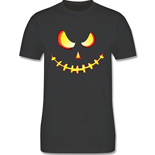 Shirtracer Halloween - Gruseliges Kürbis-Gesicht - Herren T-Shirt Rundhals  Dunkelgrau