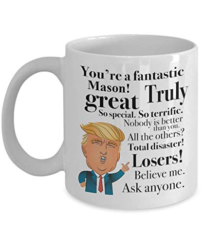 Hicyyu Donald Trump Coffee Mug - 11 Oz Tea Cup Gift Ideas for Mason Birthday Christmas President Conservative Republican (Mason Oz Mugs Jar 32)
