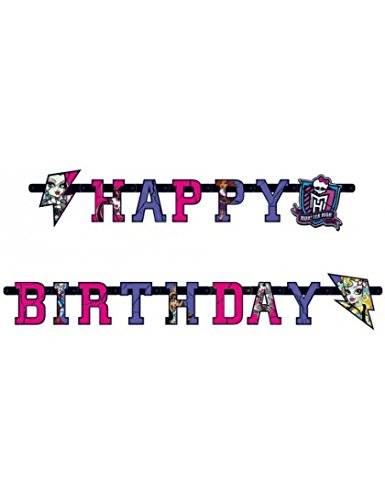 Amscan 552518 – Buchstaben-Banner Girlande HAPPY BIRTHDAY Monster High 2 – 180 x 15 ()
