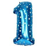 JUSTFOX - Zahl Luftballon XL 75CM Nummer Folienballon Kinder Geburtstag Deko (1, Blau)