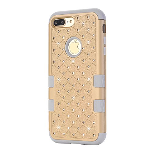 "iPhone 7 Plus Hülle,Lantier 3 in 1 Eleganter Luxus verzierte Bling Rhinestone Entwurf Dual Layer Hybrid Stoß hartes Stoßschutz Hülle Abdeckung für iPhone 7 Plus 5.5"" Schwarz+Pink Cute Rhinestone Gold+Grey"