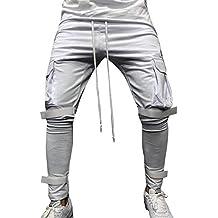 Moda Color Sólido Pantalones Casuales de los Hombres Jogging Casual  Pantalón Pantalones de chándal elásticos para e11e3b7a900e