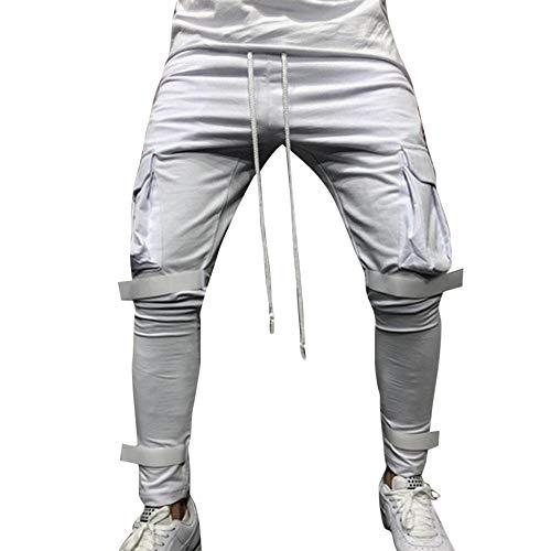 Moda Hombres Sueltos Pantalones para Otoño Invierno de Bolsillo Joggers Ocasionales Deportes de Pantalones chándal para Hombre Pantalones cómodos Holgados