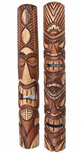 2-Tiki-Mscaras-100-cm-en-Hawaii-Style-Mscara-Mscara-Madera-Isla-de-Pascua