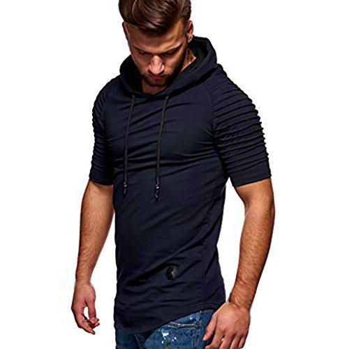 VEMOW Sommer Frühling Herbst Männer T-Shirt Slim Fit mit Kapuze Kurzarm Muscle Baumwolle Casual Täglichen Party Urlaub Sport Workout Tops Bluse Shirts(Marine, EU-48/CN-L)