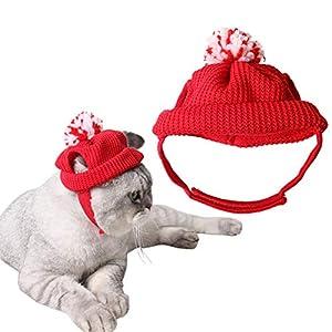 Bonnet Main tricotée Chat Nouveauté Noël Chapeau de Chat Mignon pour Animaux de Noël Accessoires Costume