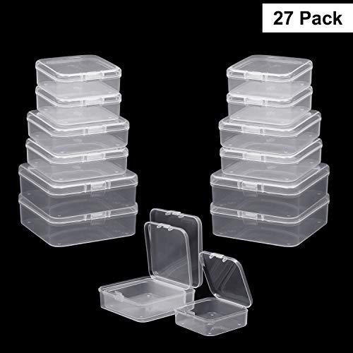 Perlen Aufbewahrungs Behälter(27er Set)-Mini Rechteckige Kunststoff Aufbewahrungsbehälter mit Deckel in 3 Größen-Transparente Stapel-Box für Pillen Kräuter Schmuckzubehör Schleim andere kleine Artikel