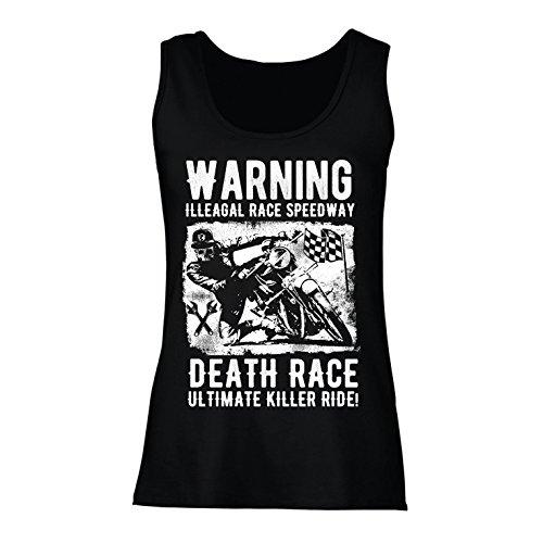 lepni.me Damen Tank-Top Todesrennen - ultimative Killerfahrt, Motorradrennen, Klassiker, Vintage, Retro-Schädel-Biker, Motorrad (Medium Schwarz Mehrfarben)