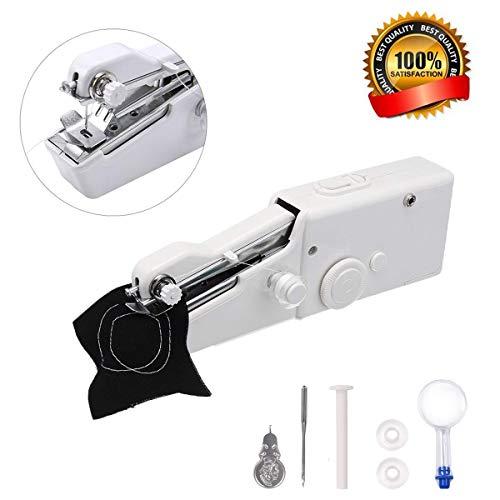 MSDADA Mini nähmaschine,tragbare nähmaschine Hand nähmaschine Schnellstichwerkzeug, AA Batteriebetrieben für Gewebe,Kleidung, Kindertuch, Hauptreise-Gebrauch(Magnifying Glass)