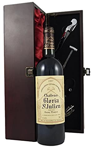 Chateau Gloria St Julien 1997 75cl Vintage Wine presented in a silk lined wooden box with four wine