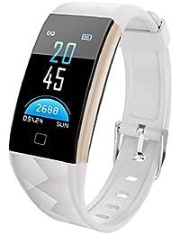QUICKLYLY Pulsera Actividad,Inteligente con Pulsómetro Cardíaco Monitor para Mujer Hombre Impermeable IP67 Reloj Fitness Podómetro,Sueño,Notificación de SMS para Android y IOS Teléfono móvil (Blanco)