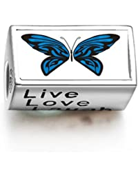 Charms Bracelets Beads Exotic Blue Butterfly Words Live Love Laugh Bead Charm