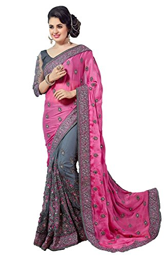 Panash Trends Satin & Net Beautiful Work Designer Party Wear Saree with Blouse Piece For Women\'s/Girl\'s - (Pink & Grey)