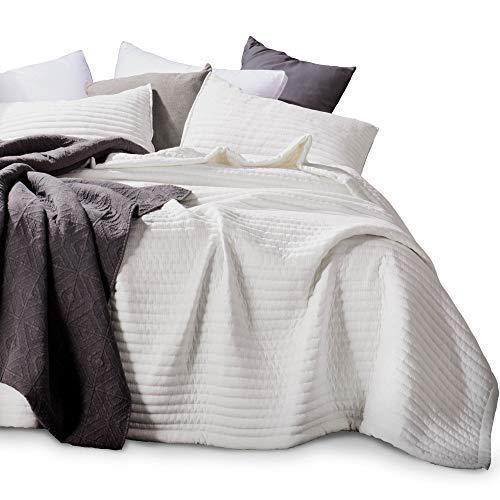 KASENTEX Quilt-Bettwäsche-Set, maschinenwaschbar, sehr weich, leicht, Steinwäsche, detaillierte Nähte, hypoallergen, einfarbig Oversized Queen + 2 Shams elfenbeinfarben