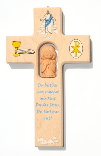 Kinderkreuz Jesus, mit Weinkelch, mit Tonengel betend für Kommunion