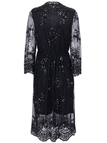 Missy Chilli Damen Knielangkleid Elegant Langarm V-Ausschnitt Pailletten Festlich Kleid Partykleid Abendkleid Schwarz - 3