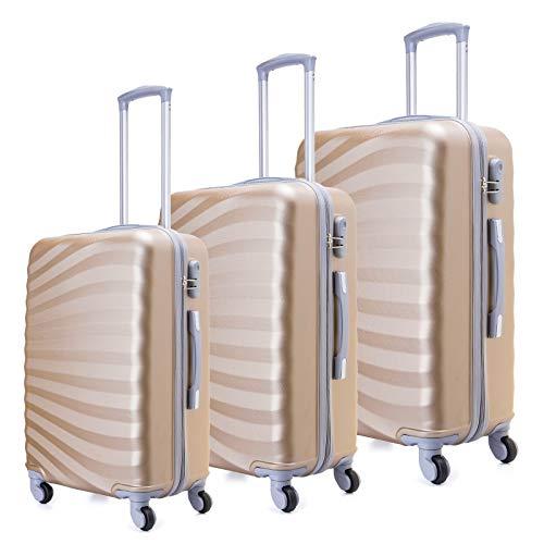 Toctoto Set di valigie Leggera Valigetta con guscio rigido Shell 3 Piece (20' 24' 28') (Champagne)