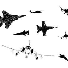 ee3565bfdf JUNMAONO Avión Negro Pegatina de Pared 3D PVC Póster Mural Decoración  Vinilo Calcomanías Etiqueta Pintura Engomada