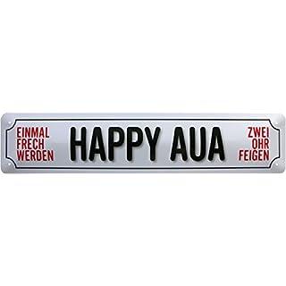 Happy Aua Hour Bar Deko Bier Party Fun Straßenschild Blechschild 46x10 cm STR123