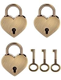 3pcs Candado Armario Bloqueo Cerradura Seguridad Equipaje Viaje Forma de Corazón M