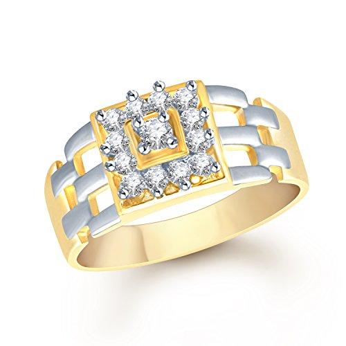 V. K. Jewels Vk Jewels Pyramid Style Gold Brass Alloy Cz American Diamond Ring for Men Vkfr1105G18