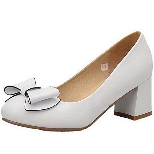VogueZone009 Damen Rund Zehe Mittler Absatz Weiches Material Rein Ziehen Auf Pumps Schuhe Weiß
