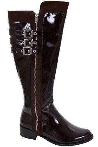 FANTASIA BOUTIQUE pour Femmes Triple Bracelet Boucle Verni Talon Bas femmes Bottes Hauteur Genou Chaussures Marron