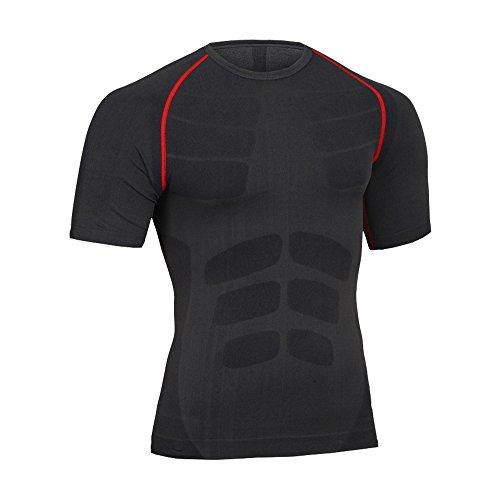 Fitsund Herren Kompressions Shirt Fitness T-Shirt Schnell Trocknend Sport Funktionsshirt Gr. M-XL (Grau-Rot, M) -