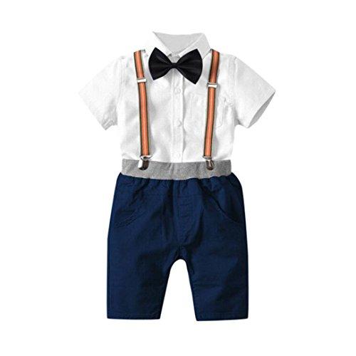 Jungen Sommer Gentleman Bowtie Kurzarm Shirt + Overall Shorts Sets Lätzchen Outfit Set Kleidung (3Jahre, Weiß) (Spiderman Outfit Kleinkind)