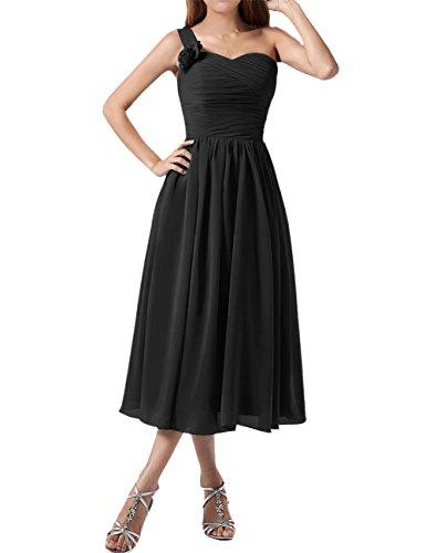 Find Dress Plissé Robe Soirée Grande Taille pour Cérémonie Femme Mariage avec Bretelle Asymétrique Robe Demoiselle d'Honneur Mi Longue Princesse Fête Noel Wedding Dress Noir