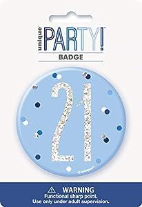 Unique Party 83519 - Insignia de cumpleaños, color azul y plateado