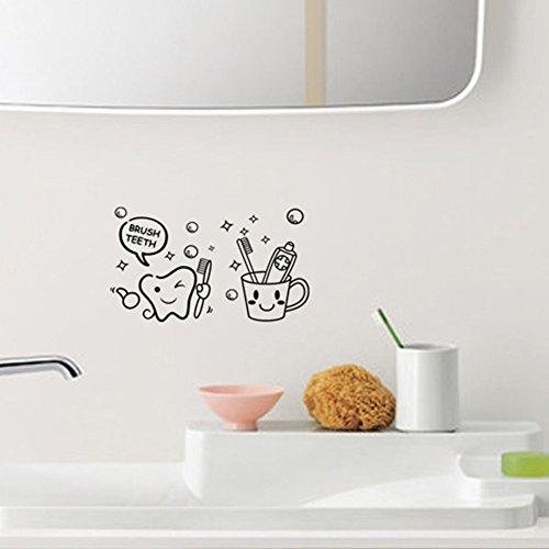 Cute Diente Con Cepillo clínicas dentales dentista Wall Art Decor Adhesivo 10'* 18'